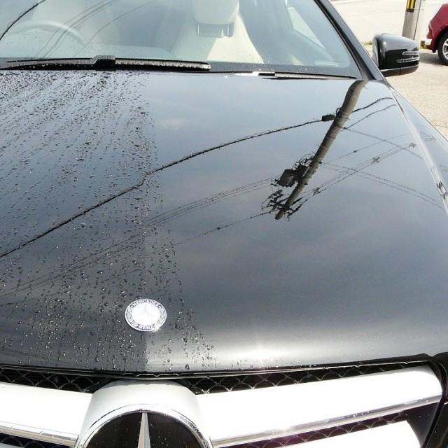 車のボンネットなど広い箇所の水滴を拭き上げる際はセームを広げた状態で一気に拭き上げると水滴をスパッと一発で拭き切ることができます